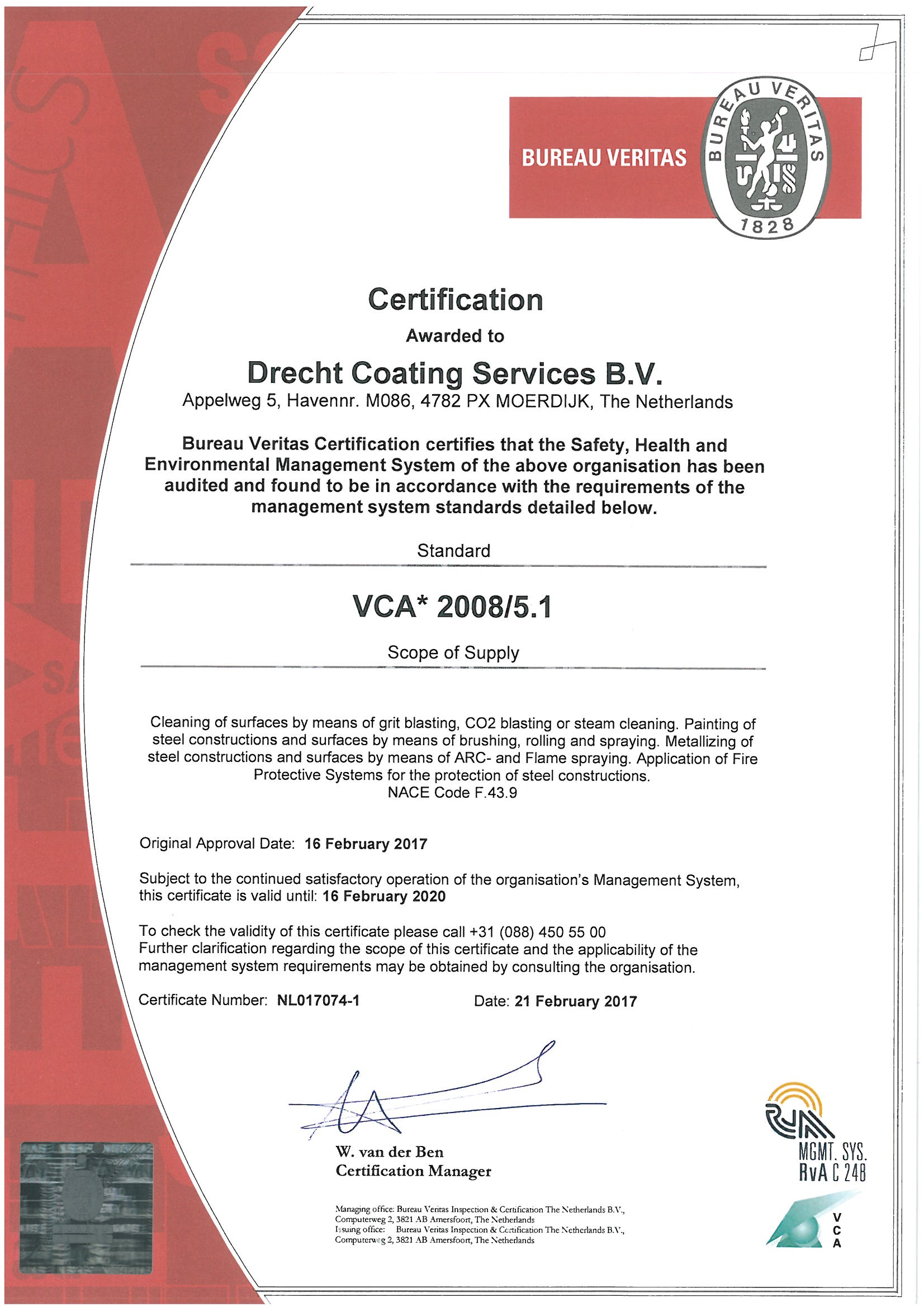 Dcs coating certification vca this checklist is used to determine whether a company complies with the rules and regulations pertaining to health and safety 1betcityfo Gallery